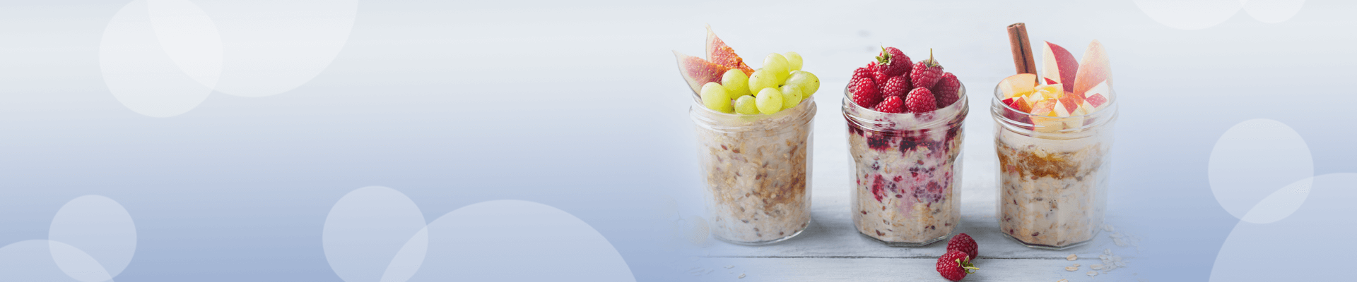 Bircher Museli in glass jars with fruit toppings